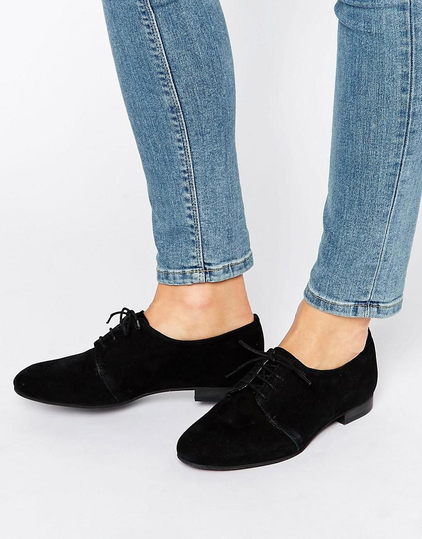 Office Farley Lace Up Suede Flat Shoes In Black Lyst
