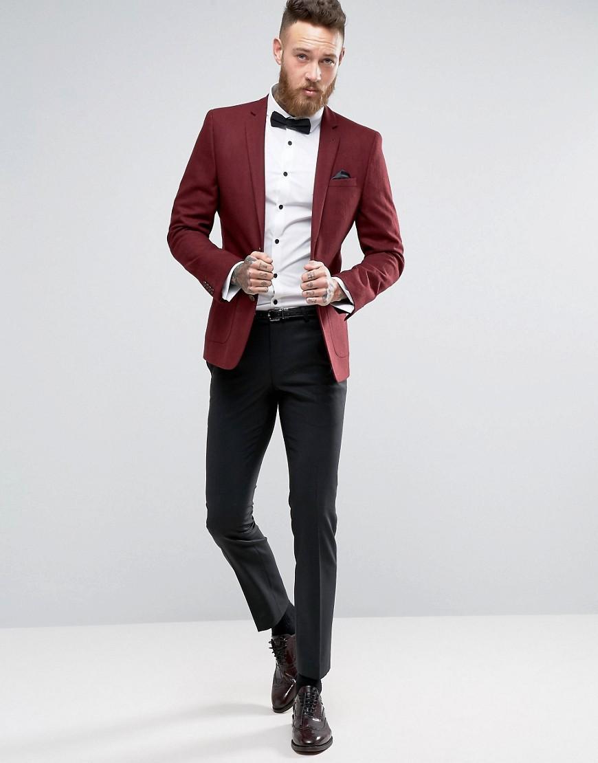 ASOS Skinny Blazer In Burgundy Wool Mix in Red for Men