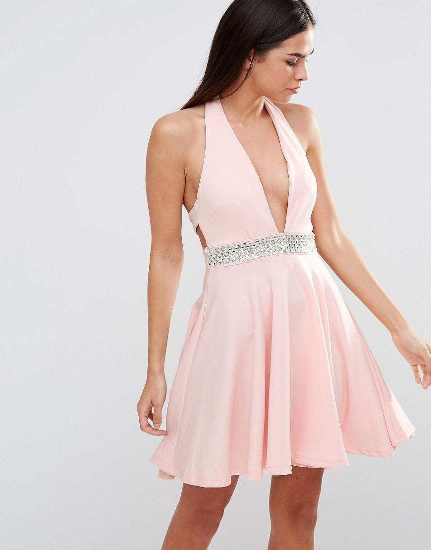 5a660a5a2a0 Lyst - Club L Scuba Diamante Trim Halter Prom Dress in Blue