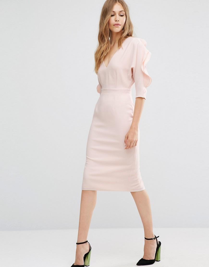 Lyst asos pencil dress with ruffle sleeve in pink for Pencil dress for wedding