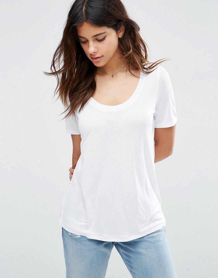 Lyst asos knitted u neck t shirt in white for Asos design free t shirt