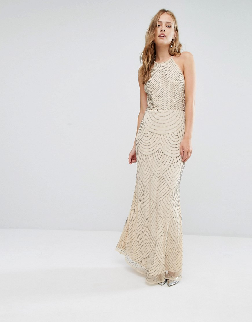La Perla Synthetic High Neck Maxi Dress With Art Deco Embellishment in Pink