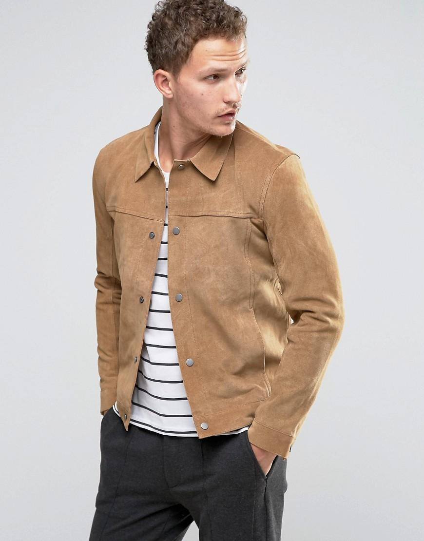 lyst selected suede western jacket in natural for men. Black Bedroom Furniture Sets. Home Design Ideas