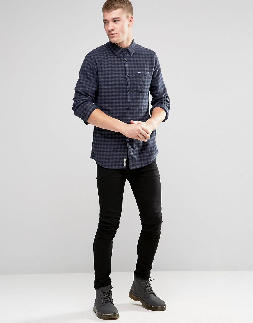Pepe Jeans Pepe Cromwell Shirt Melange Flannel Check Navy in Blue for Men