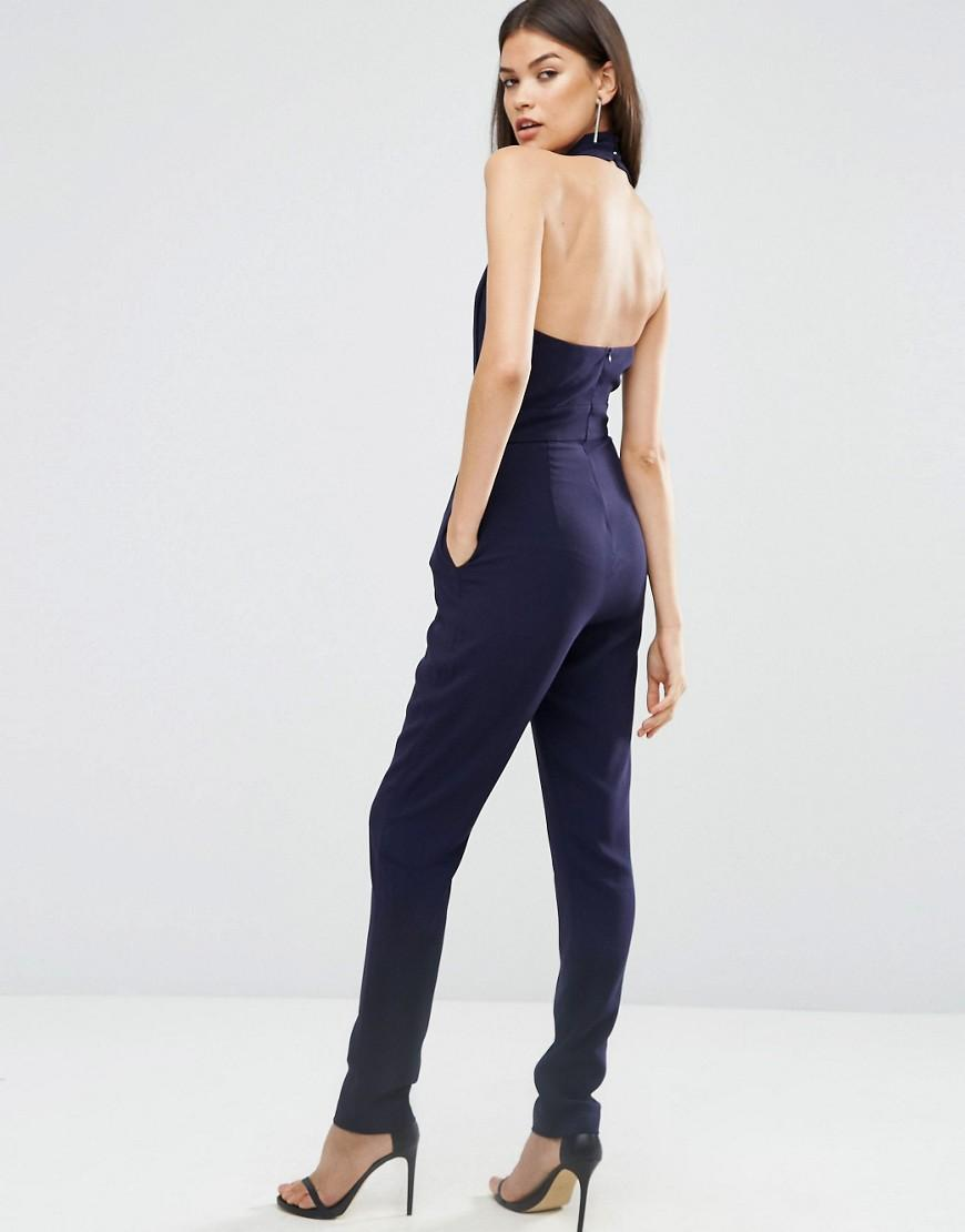 lyst asos halter jumpsuit with origami fold detail in blue