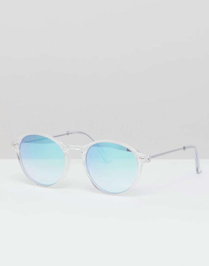 dfb780f974 Asos Design Round Sunglasses In Crystal With Blue Mirrored Lens in ...
