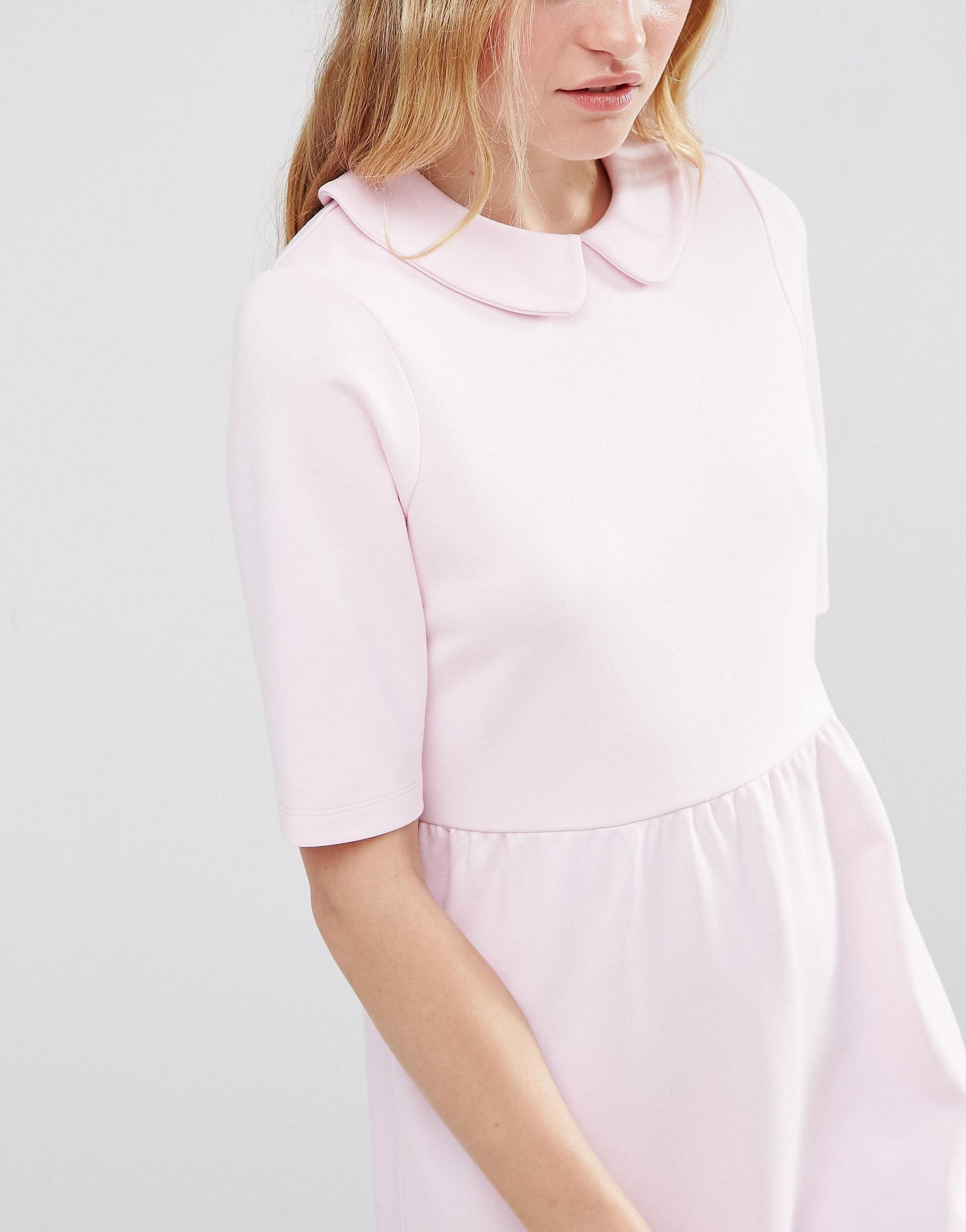 Asos Synthetic Peter Pan Collar Smock Structured Dress