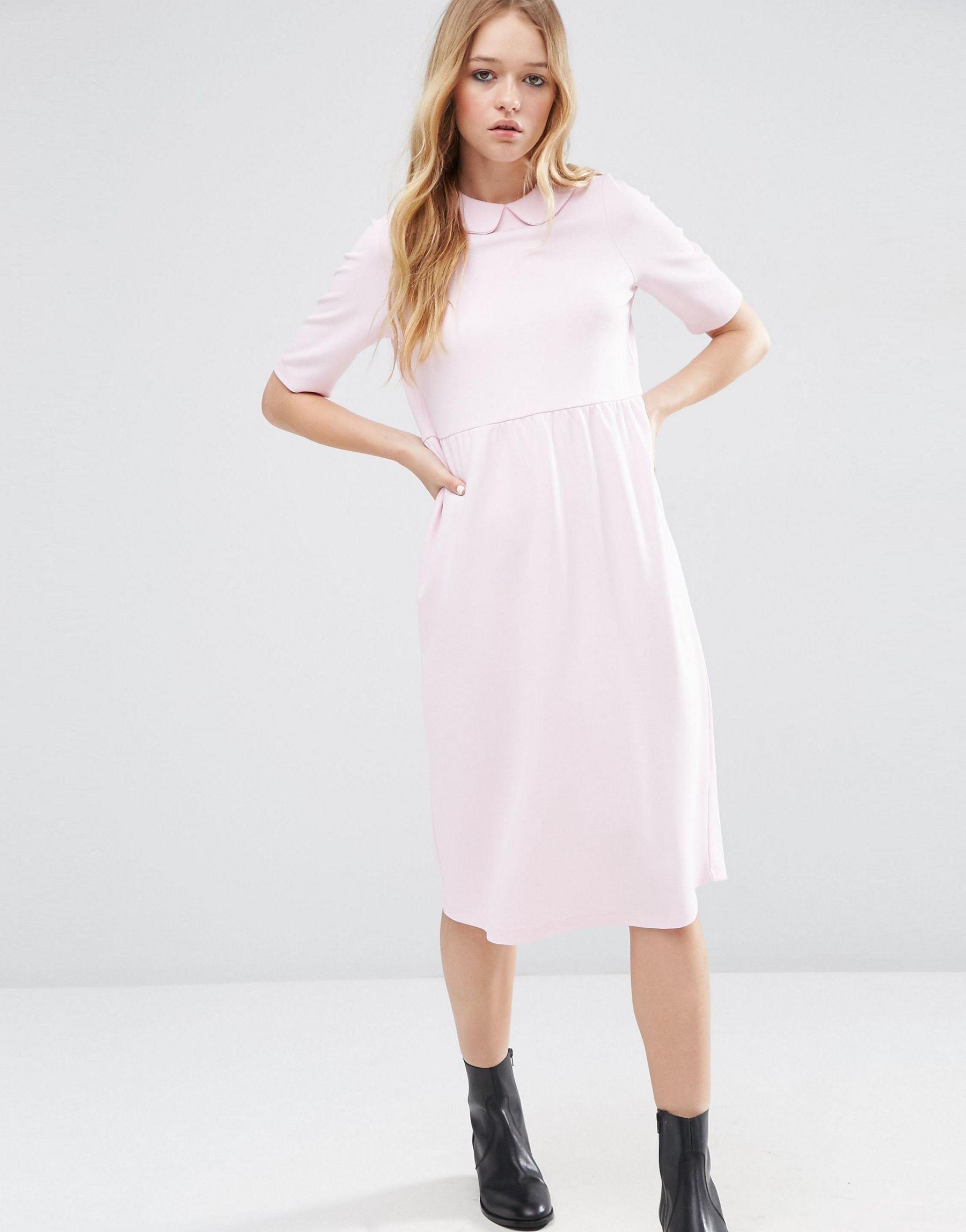 Asos Synthetic Peter Pan Collar Smock Structured Dress