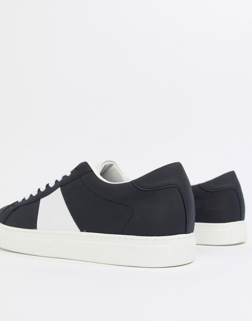 amazon footaction perfect Pull&Bear Suede Trainer With Side Stripe In Navy supply sale online XQDHGZ