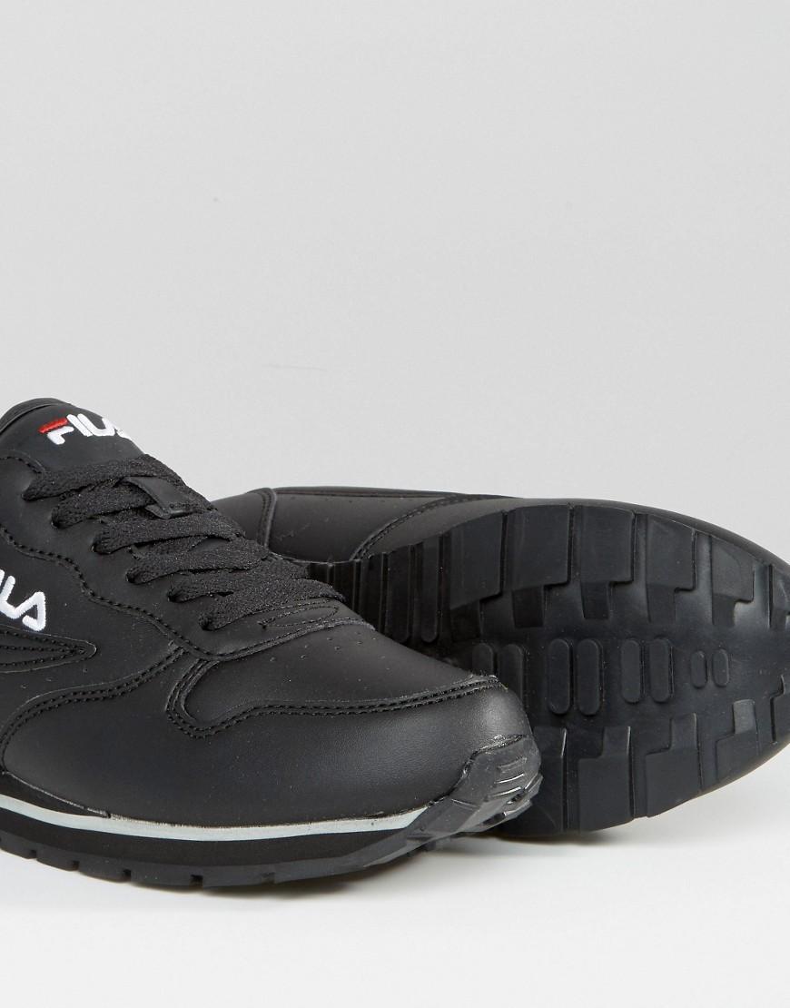 Fila Leather Orbit Low Trainers In Black