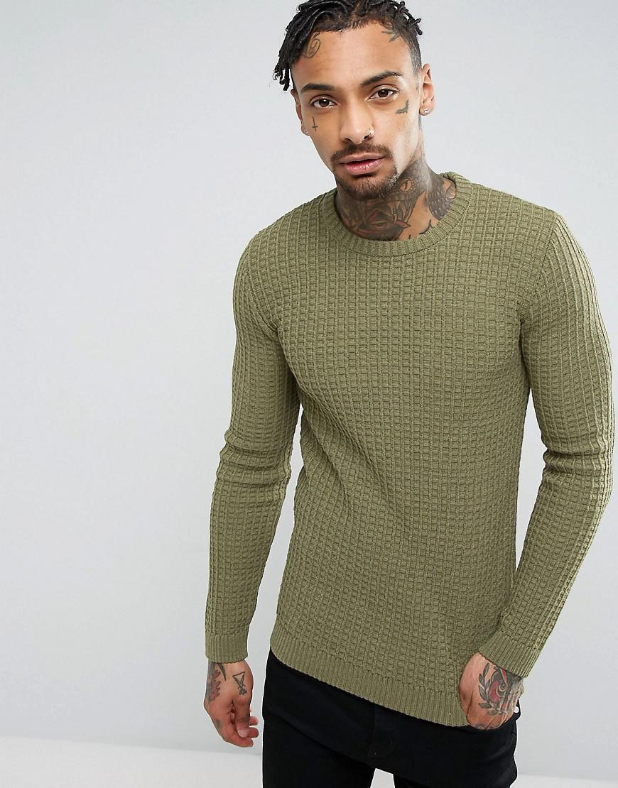 b81f57ee ASOS Asos Muscle Fit Textured Jumper In Khaki in Green for Men - Lyst