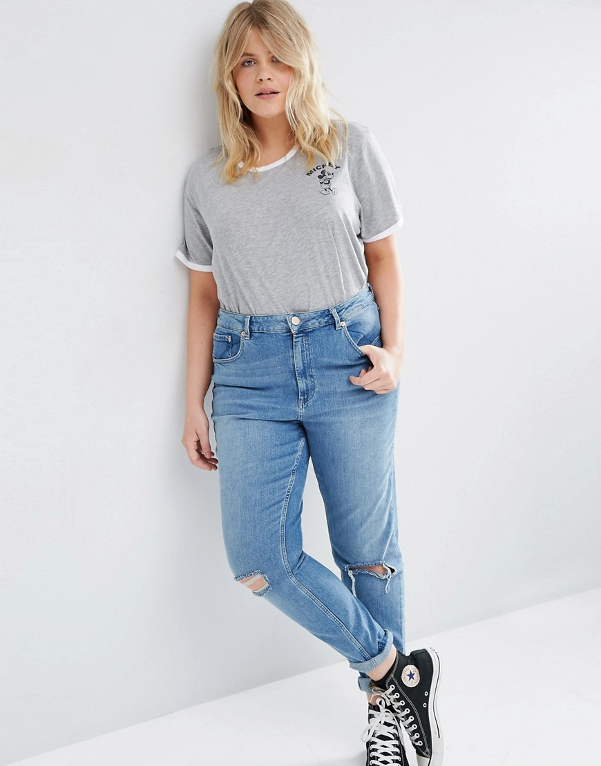 Asos T-shirt With Mickey Mouse Print And Tipping