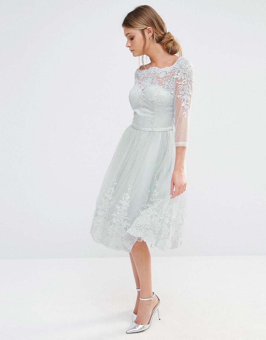 Chi Chi London Midi Tulle Dress In Premium Lace Embroidery