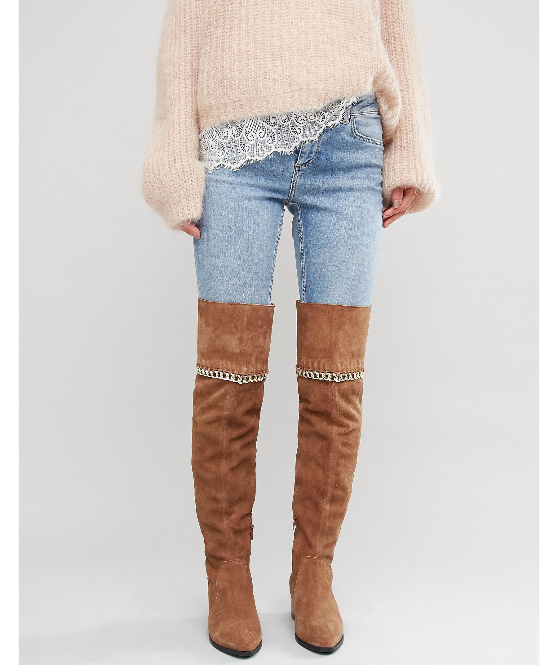 8200a2a6743 ASOS Keeta Suede Chain Over The Knee Boots in Brown - Lyst