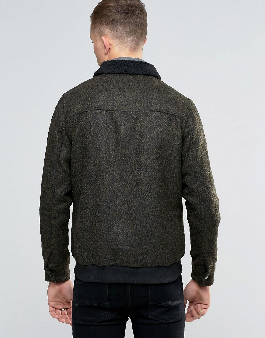 Native Youth Bord Collar Wool-mix Flight Jacket in Green for Men
