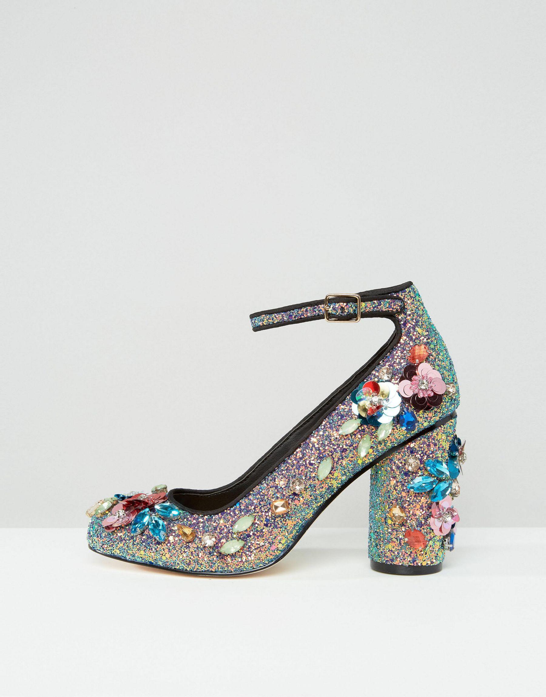 52b319d85ca1 ASOS Proven Embellished Heels in Blue - Lyst