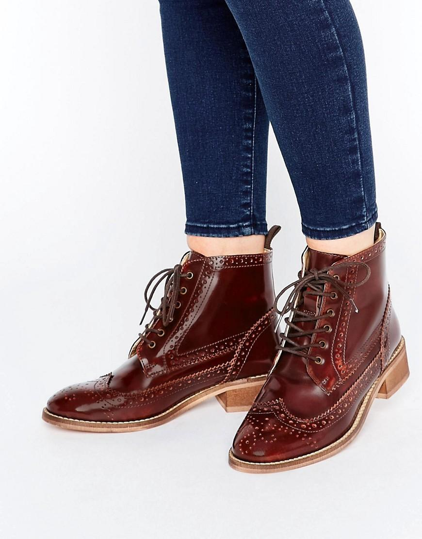 c123fdcf64 ASOS Artistry Leather Lace Up Brogue Boots in Brown - Lyst