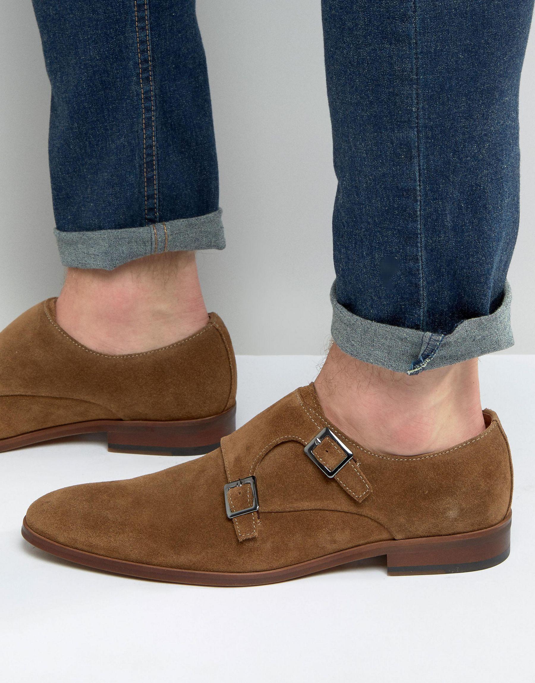 5e0d921768a55 Dune Brown Rhode Island Suede Monk Shoes for men