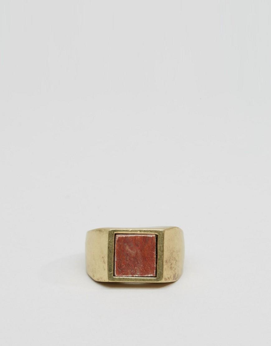 ASOS Denim Signet Ring In Burnished Gold With Red Stone in Metallic for Men