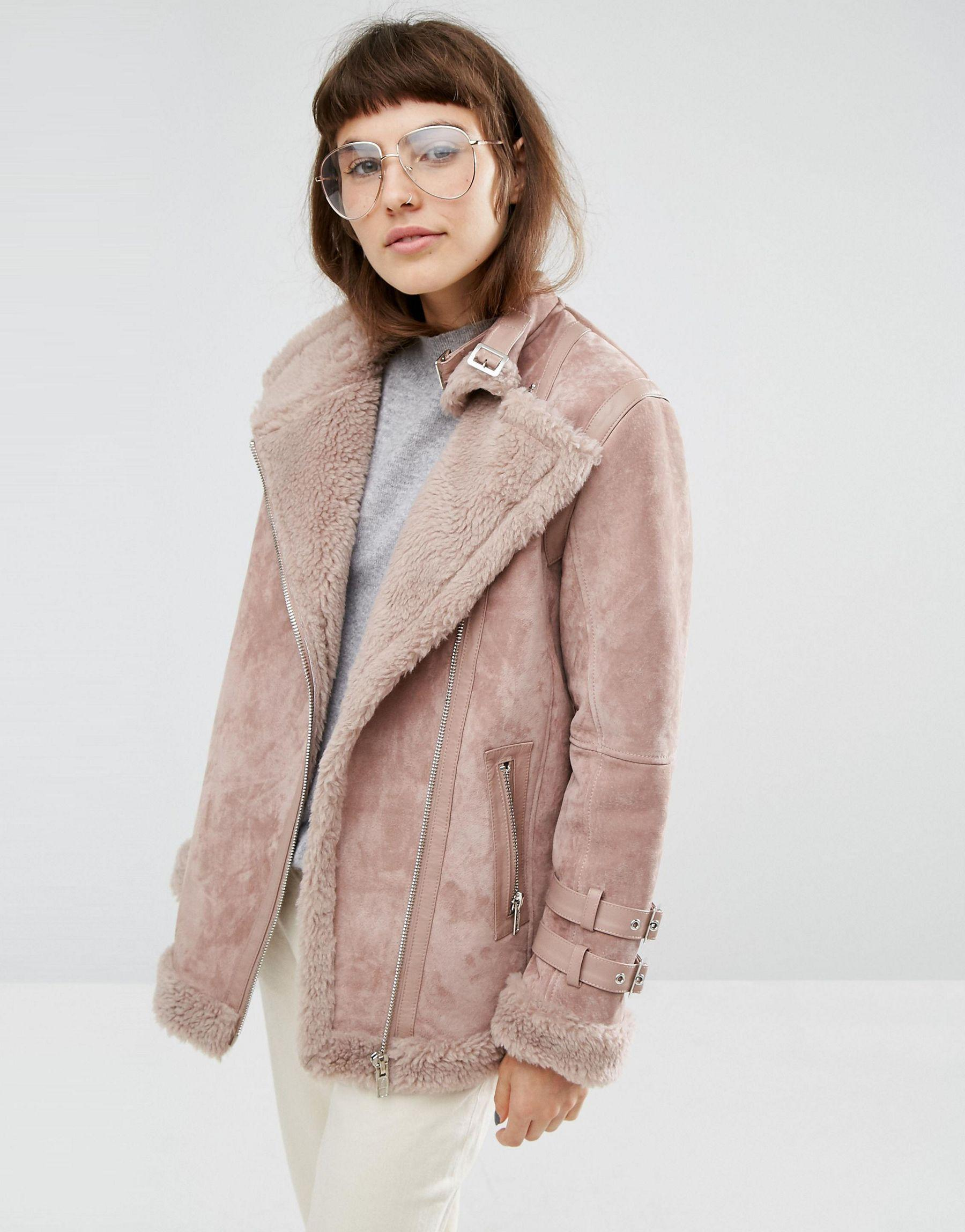 Lyst - Asos Suede Aviator Jacket With Faux Shearling