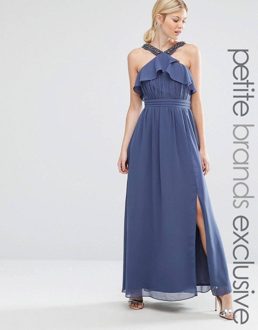 85d87479fb Lyst - Little Mistress High Neck Ruffle Detail Maxi Dress With Thigh ...
