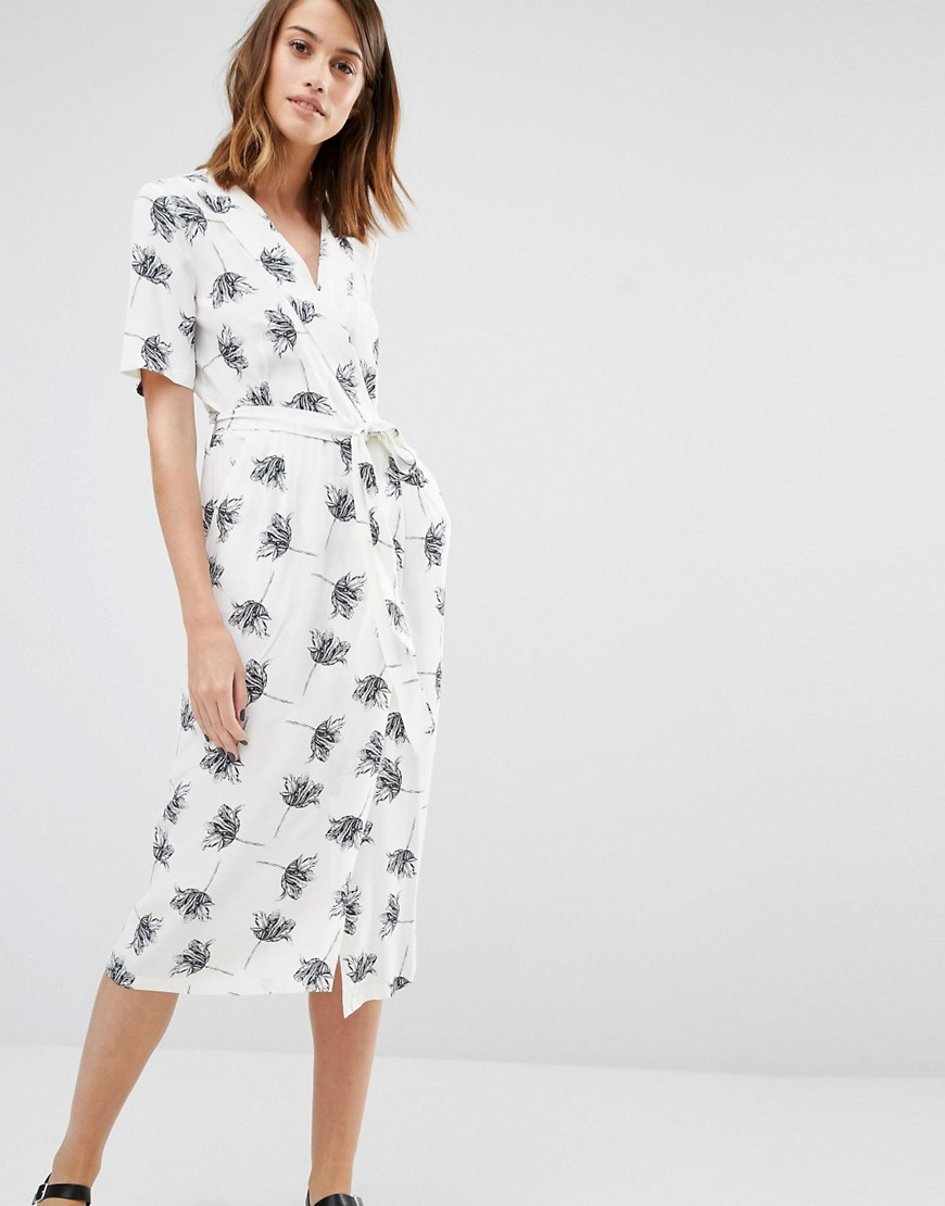 choose original casual shoes beautiful design Warehouse Synthetic Stencil Floral Wrap Midi Dress in White ...