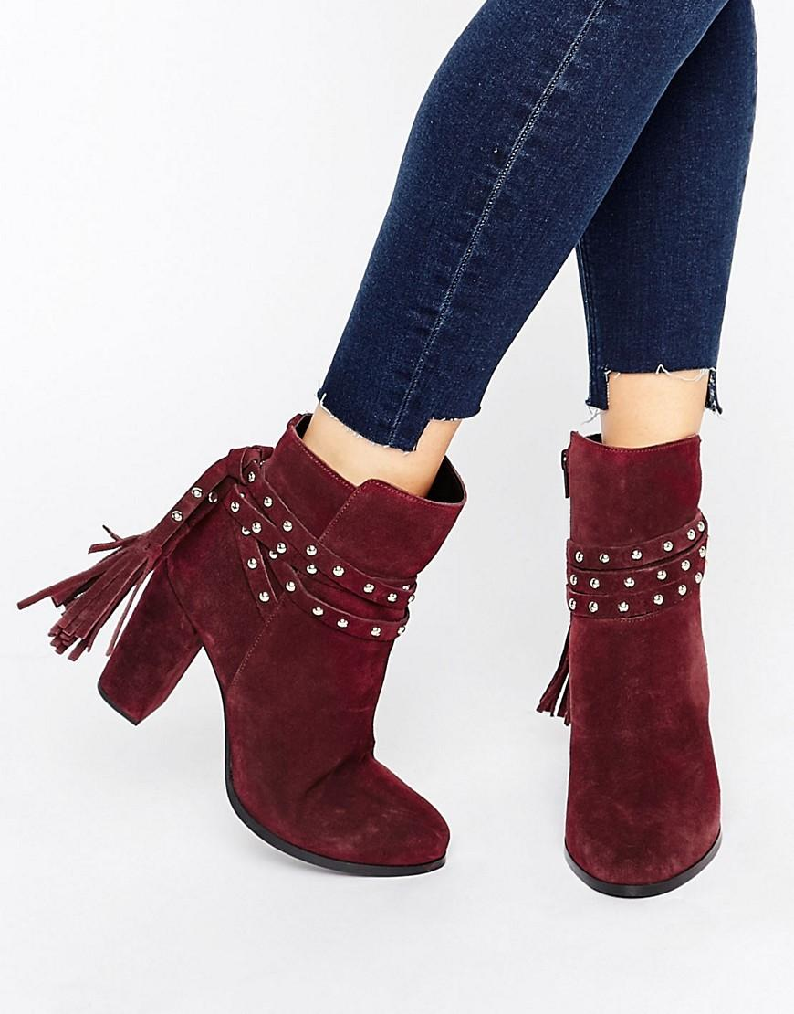 53e615a791f Faith Red Bethany Tie Back Heeled Ankle Boots