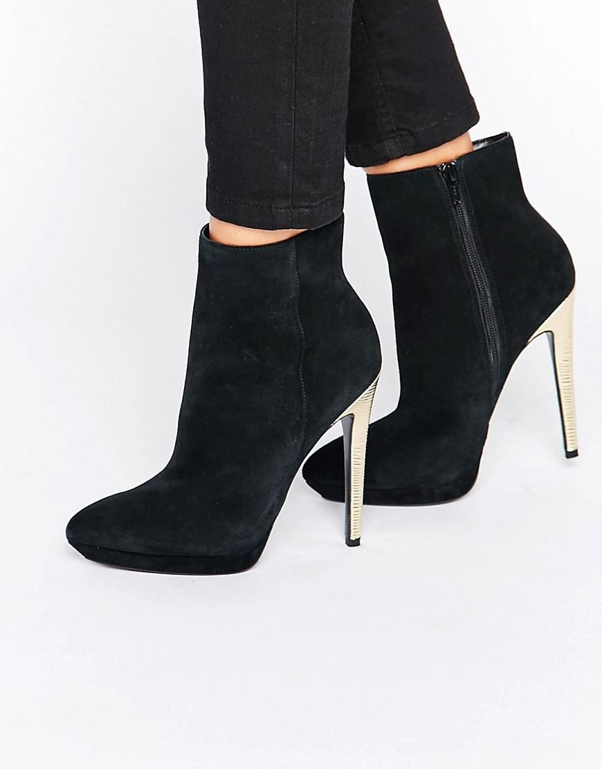 Faith Solo Felix Gold Heeled Ankle Boots In Black Lyst