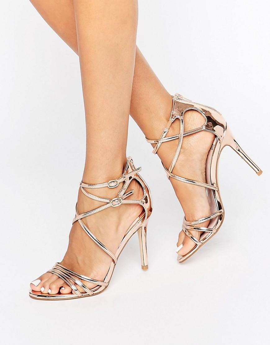 Lyst Faith Lizzie Rose Gold Strappy Heeled Sandals In