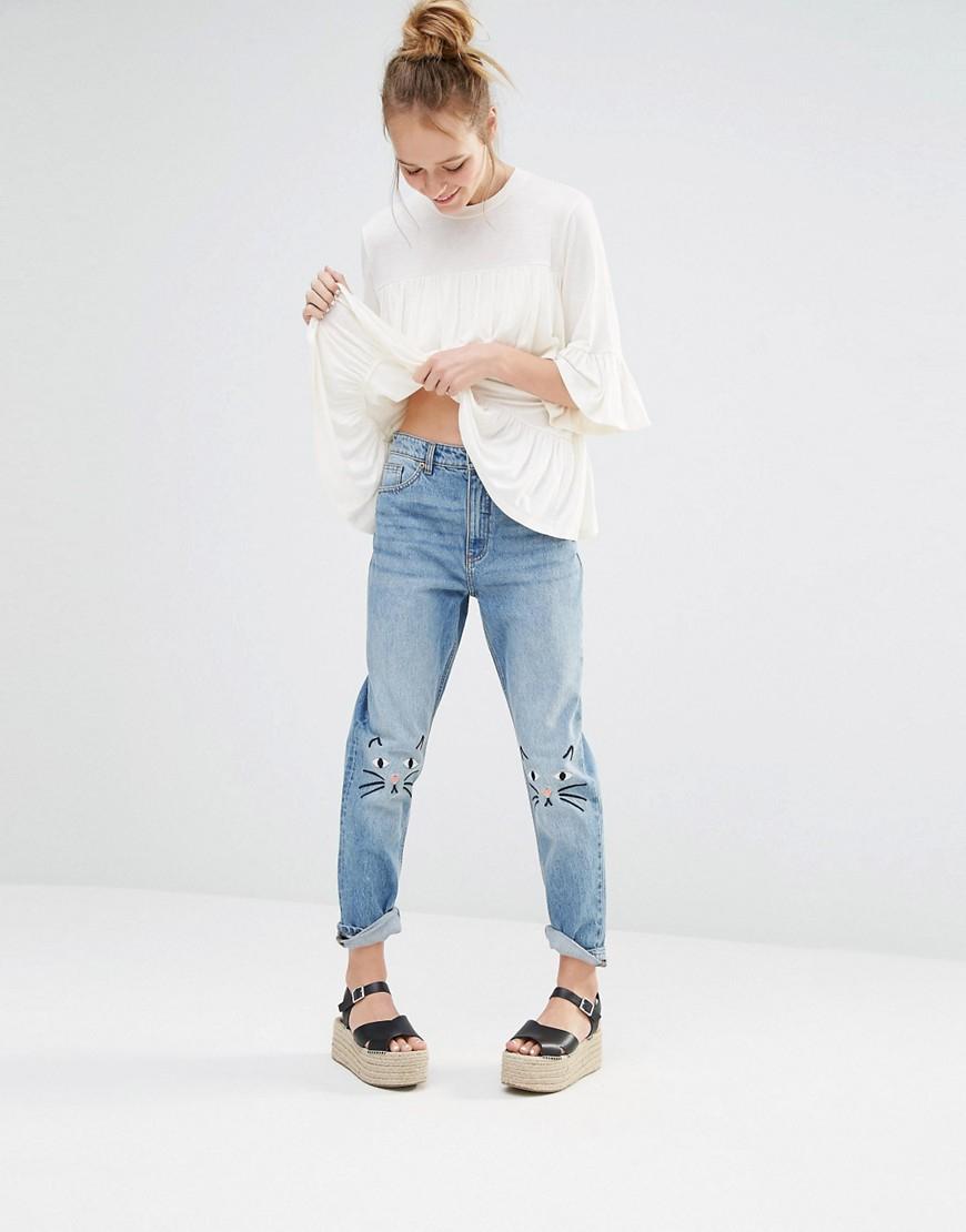 Monki Denim Kimomo Love Jeans - Blue