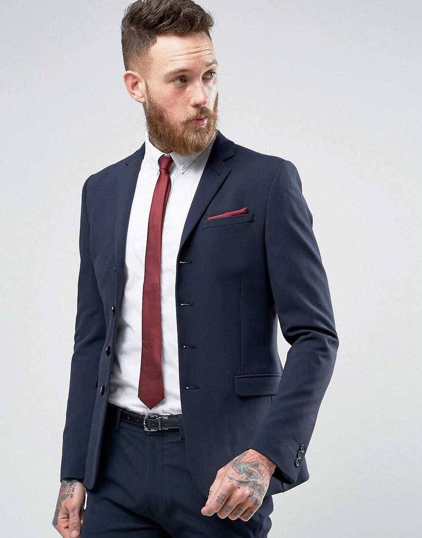 Asos Super Skinny Four Button Suit Jacket In Navy in Blue ...