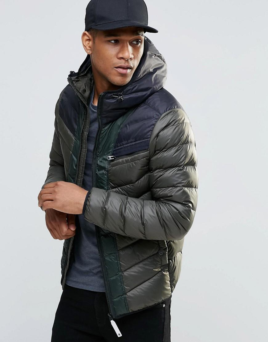 Barbour Sapper Jacket >> Lyst - G-Star Raw Attacc Hooded Down Jacket in Green for Men
