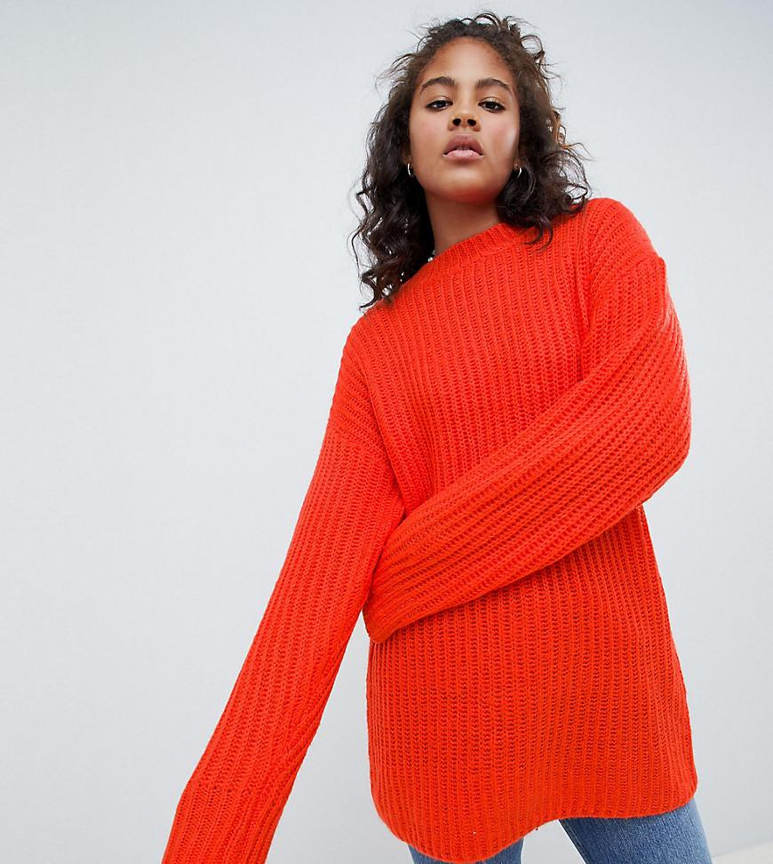 fbe4f76274 Lyst - ASOS Asos Design Tall Chunky Jumper In Rib With Crew Neck in Red