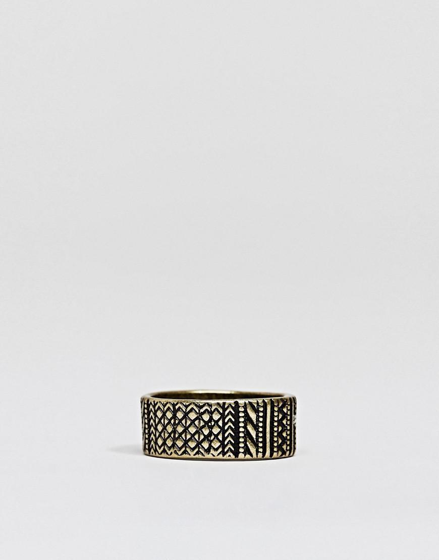 ASOS Plus Aztec Ring In Burnished Gold in Metallic for Men