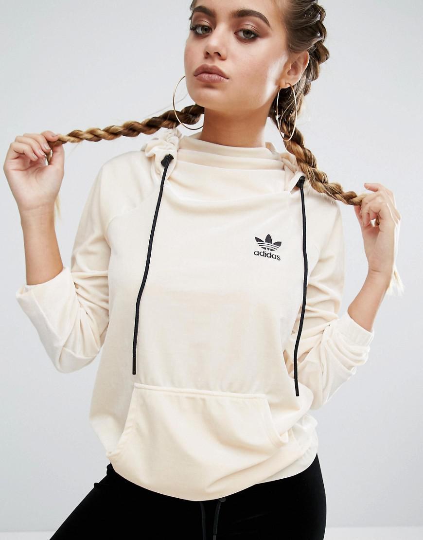 10a002cd21b0 Lyst - adidas Originals Originals Velvet Pullover Hoodie in Natural