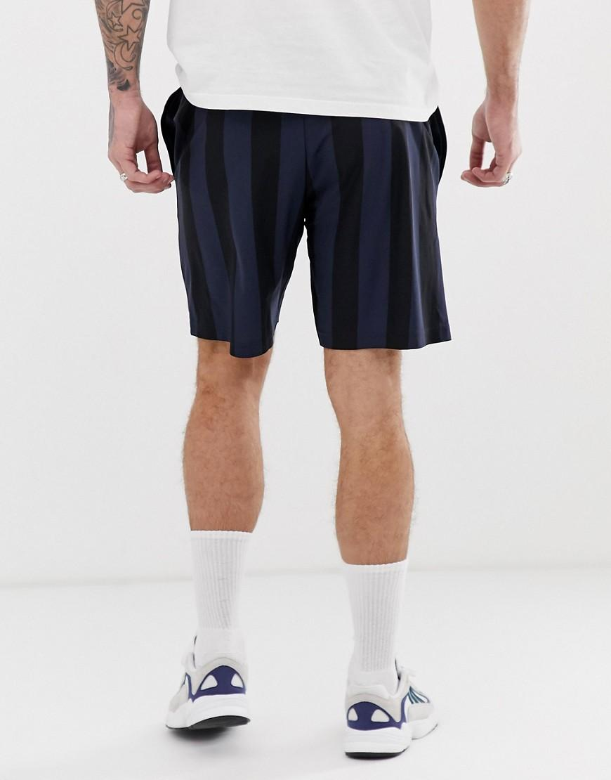 adidas Originals Katoen Gestreepte Short Met Trefoil-logo In Zwart in het Zwart voor heren