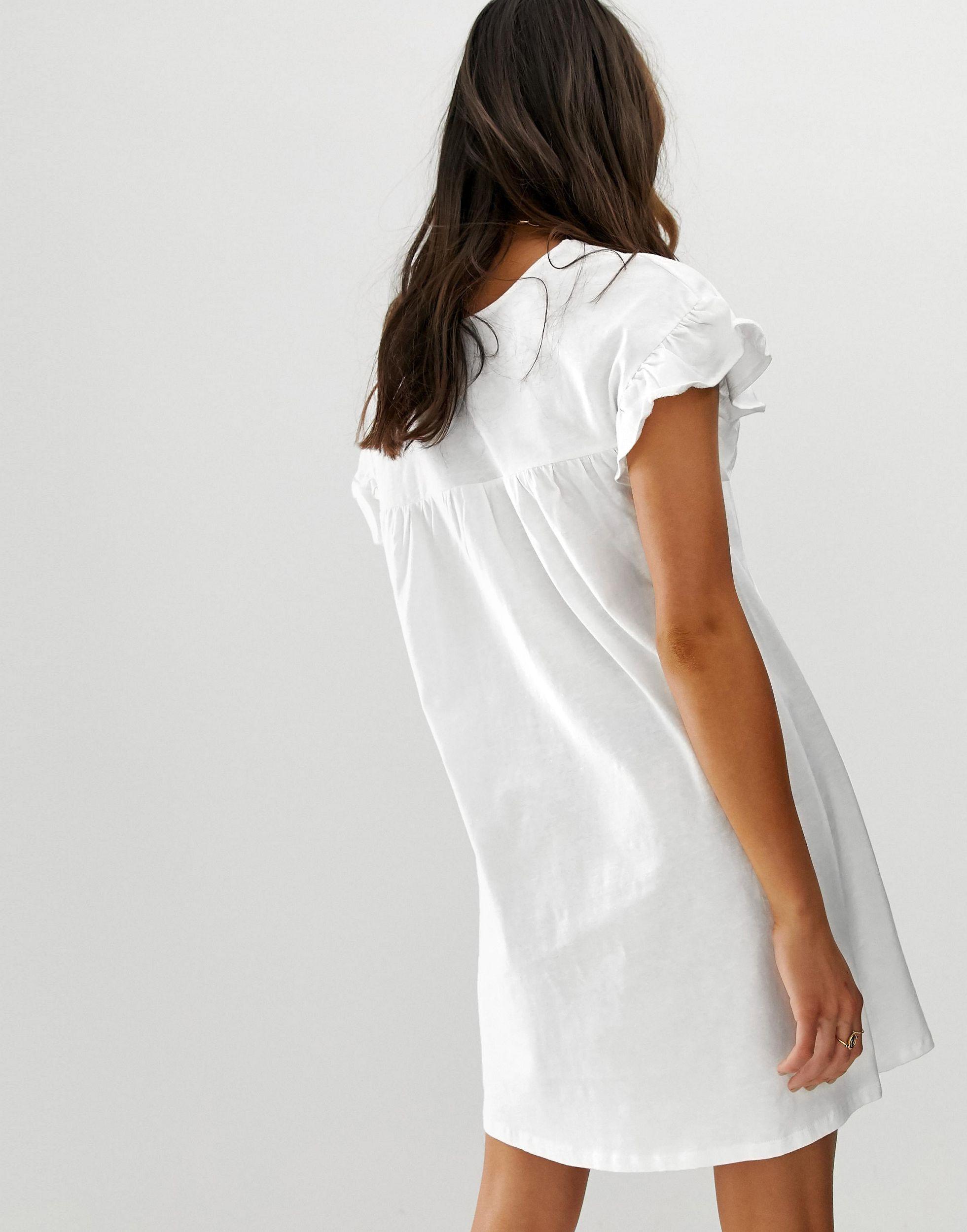ASOS DESIGN Tall - Robe babydoll courte réversible en coton flammé Coton ASOS en coloris Blanc