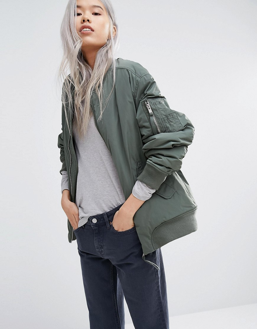 4c622b145 Weekday Padded Bomber Jacket With Contrast Lining - Green