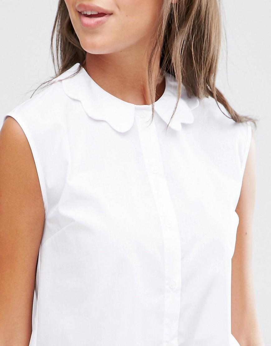 Lyst Asos Sleeveless Scallop Collar White Shirt In White