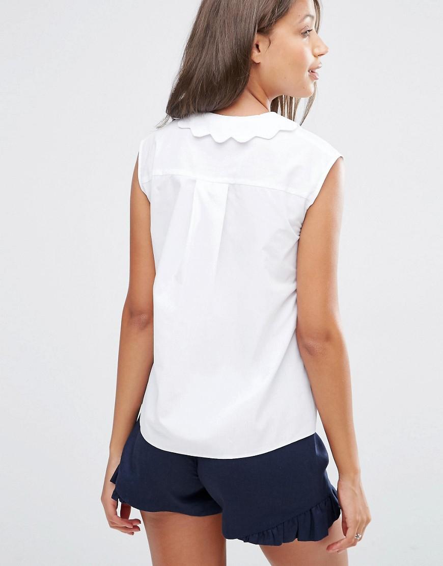 Asos Sleeveless Scallop Collar White Shirt In White Lyst