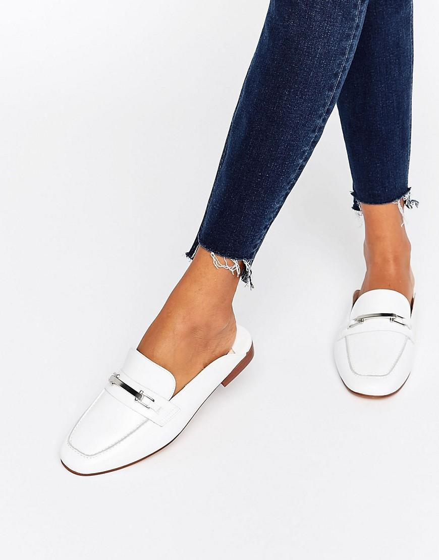 Faith Backless Leather Loafers In White Lyst