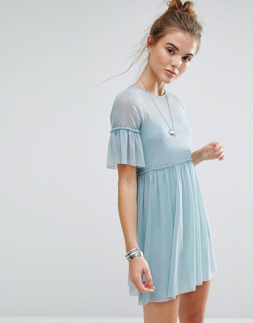 Lyst - New Look Frill Sleeve Mesh Overlay Dress in Blue
