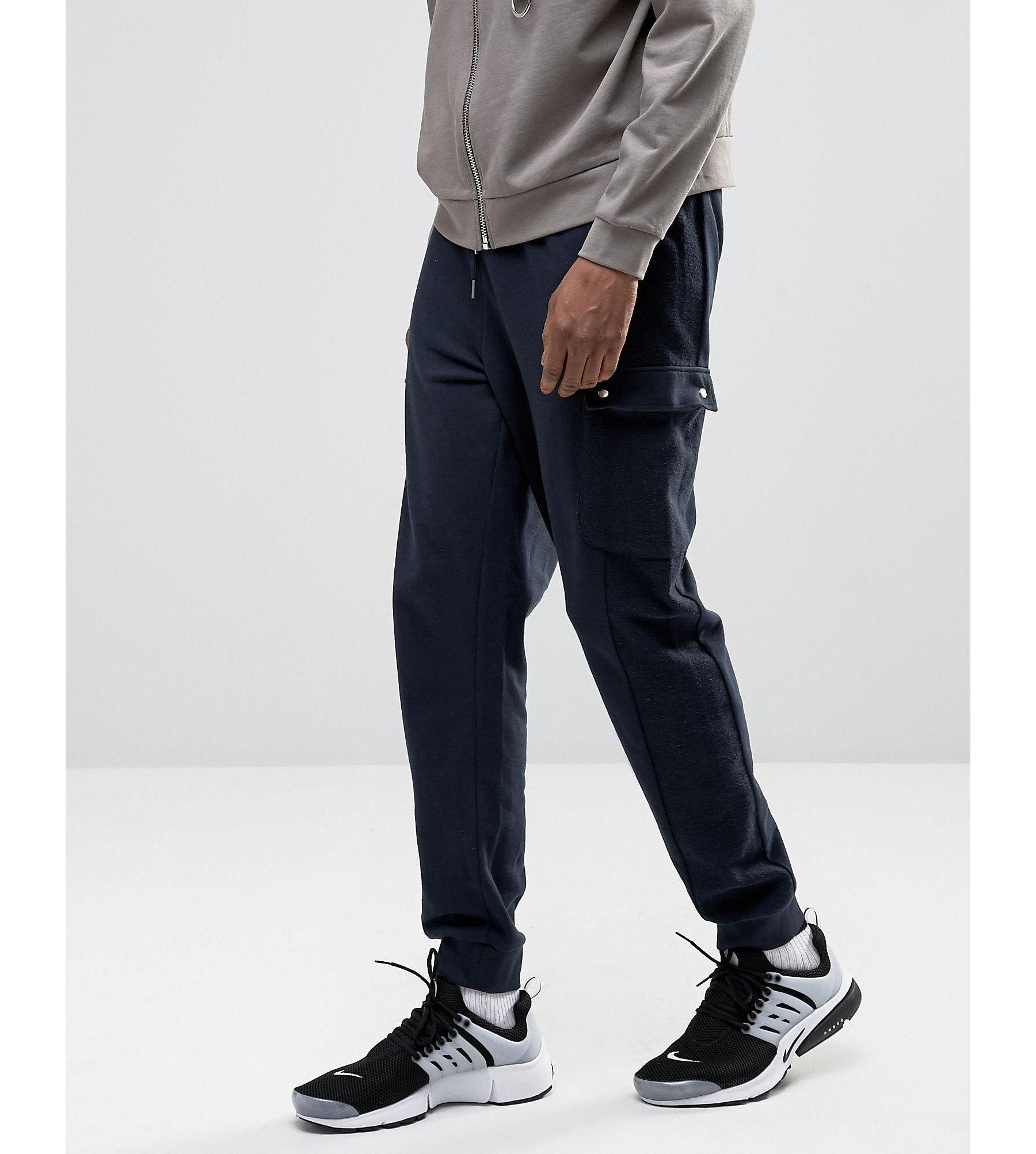 Asos Standard Fit Joggers With Cargo Pockets In Navy in ...
