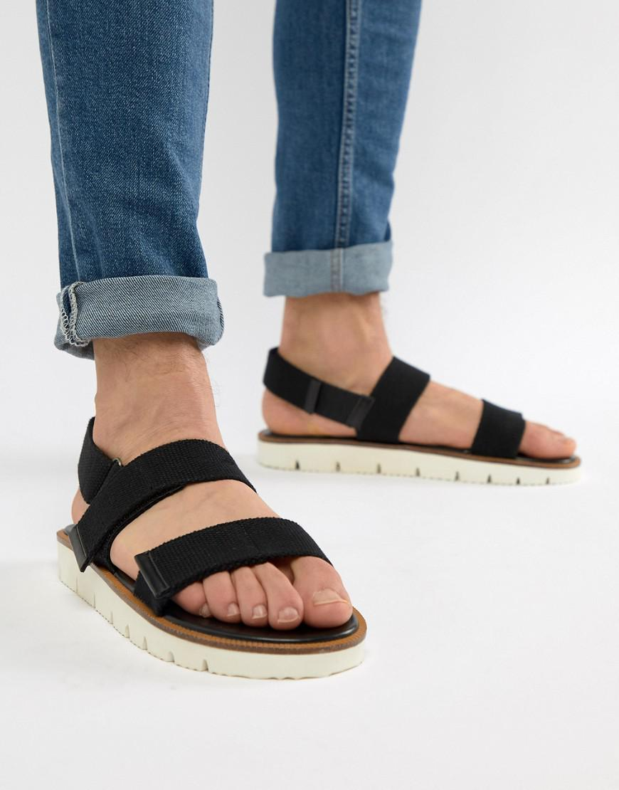 ASOS Sandals In Black Tape With White