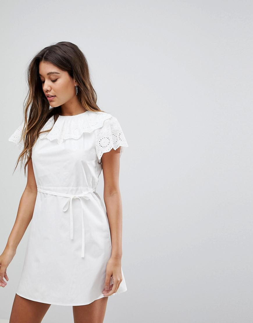 Dress With Broderie Collar And Sleeves - White Fashion Union Q3yB1vYQff
