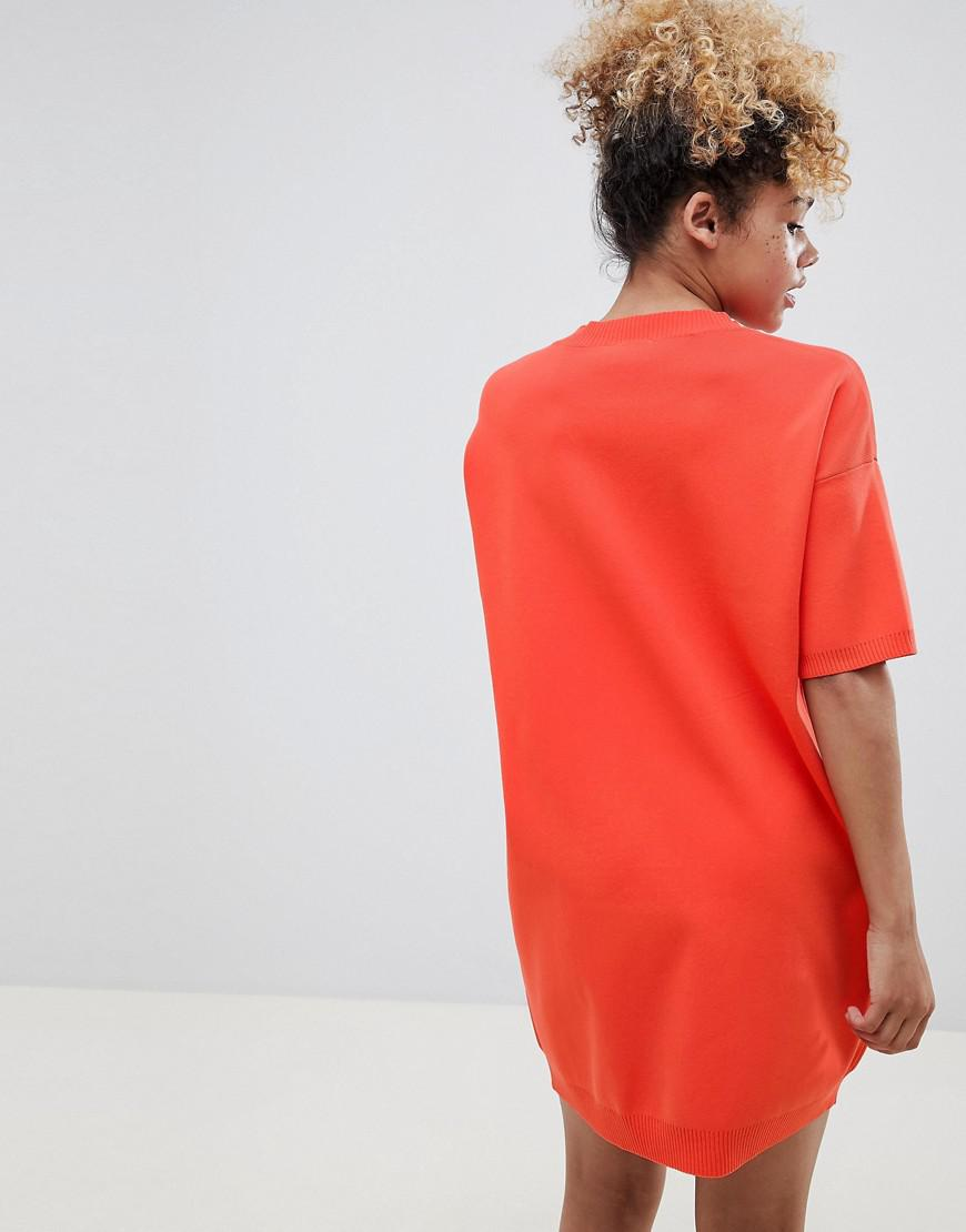 f97213b924 Lyst - ASOS Asos Design Petite Knitted T-shirt Dress With Pointelle Stitch  Detail in Orange