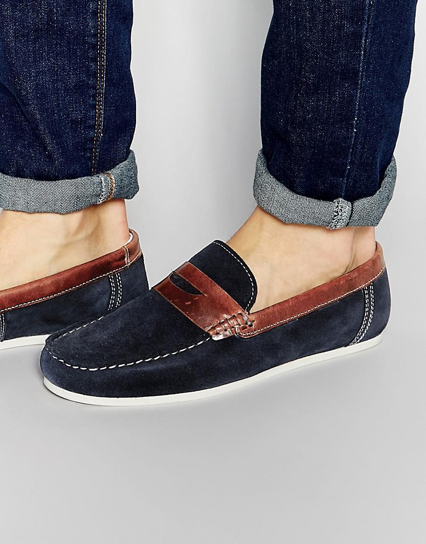 Red Tape Penny Loafers In Blue Suede - Blue for Men - Lyst