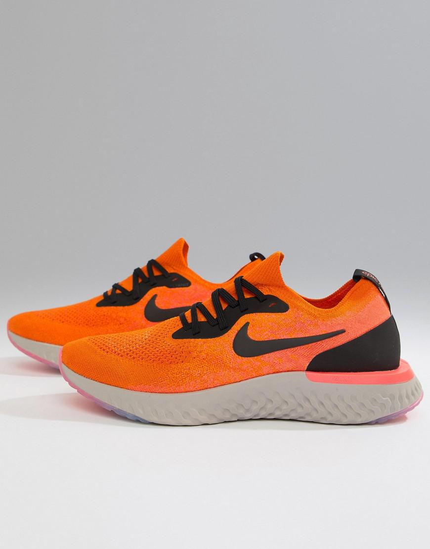 73f94c4c3bc9 Nike Epic React Flyknit Trainers In Orange Aq0067-800 in Orange for ...