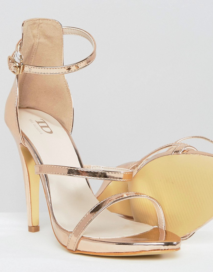 7c459991e4efa7 Lyst - True Decadence Rose Gold Strappy Platform Heeled Sandals