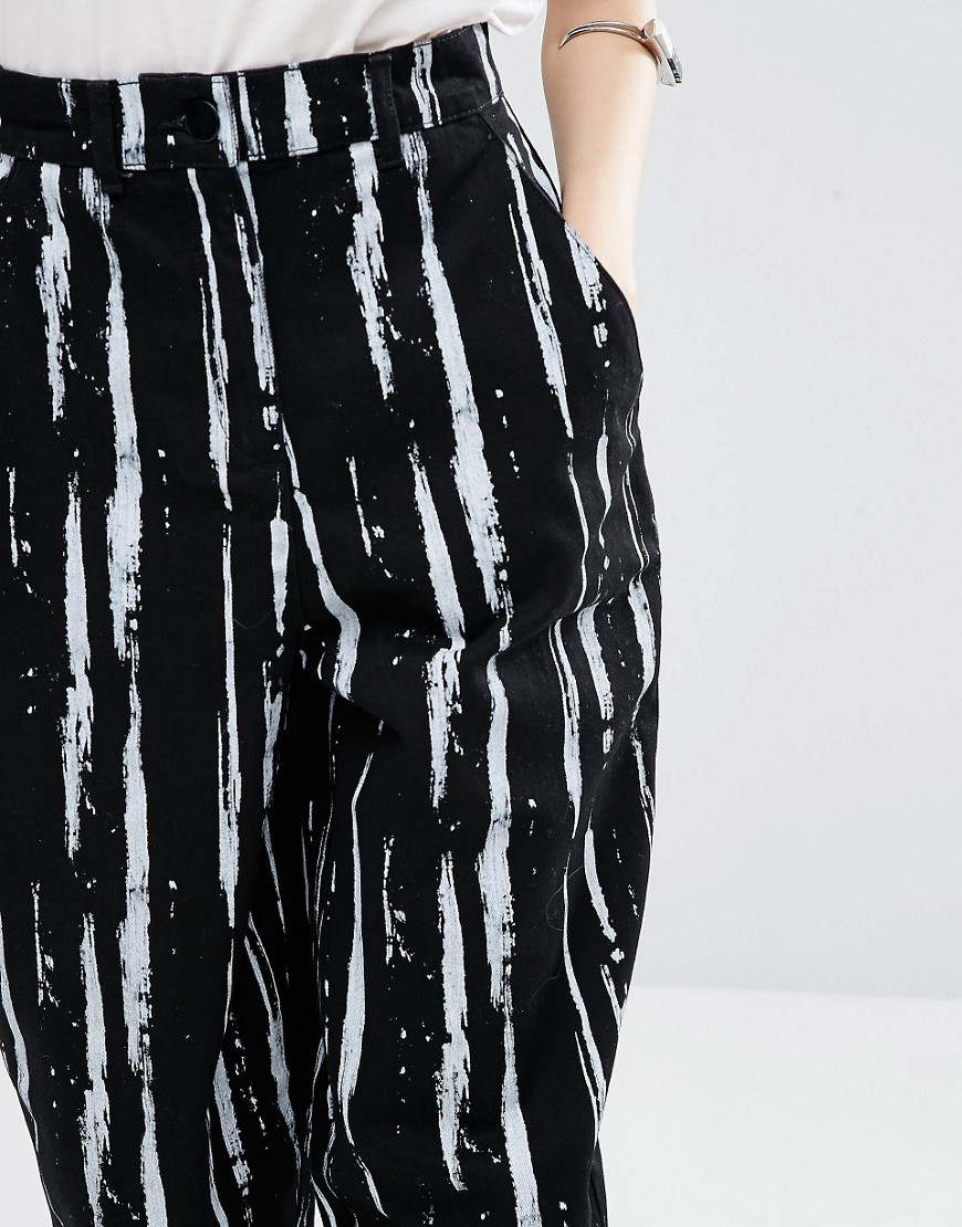 ASOS Denim Ovoid Jeans In Paint Stripe Print in Black